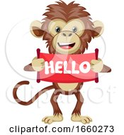 Monkey With Hello Sign