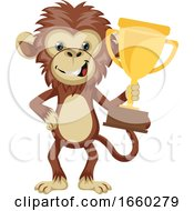 Monkey Holding Trophy