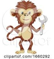 Monkey Holding Wrench