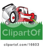 Clipart Picture Of A Red Lawn Mower Mascot Cartoon Character Smiling While Mowing Grass