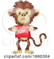 Monkey With Sorry Sign