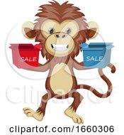 Monkey Holding Sale Boxes