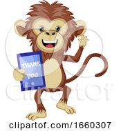 Monkey With Thank You Sign