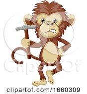 Monkey Holding Hammer
