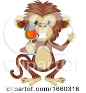 Monkey With Glass Of Wine