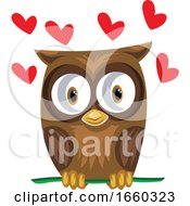 Brown Owl In A Green Branch With Red Hearts