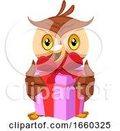 Poster, Art Print Of Owl Holding Gift