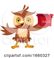 Poster, Art Print Of Owl With Sale Box
