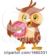 Owl Eating Donut