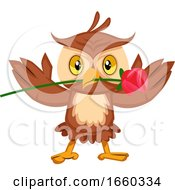 Poster, Art Print Of Owl With Rose