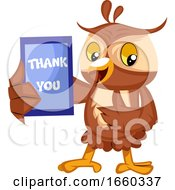Owl With Thank You Sign
