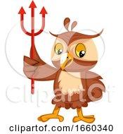 Poster, Art Print Of Owl With Devil Fork