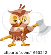 Owl Holding Big Axe