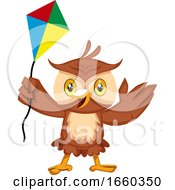 Poster, Art Print Of Owl With Flying Kite