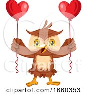 Owl With Heart Balloons