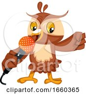 Owl Singing On Microphone