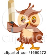 Owl With Cricket Bat