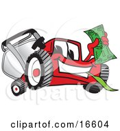 Clipart Picture Of A Red Lawn Mower Mascot Cartoon Character Waving Cash by Toons4Biz