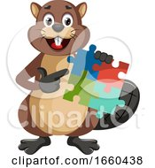 Poster, Art Print Of Beaver With Puzzle