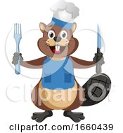 Beaver With Fork And Knife