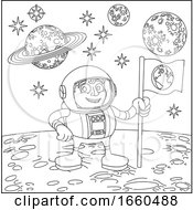 Space Cartoon Scene Astronaut On Moon