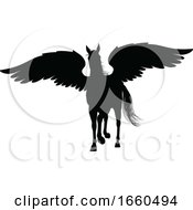 Pegasus Silhouette Mythological Winged Horse by AtStockIllustration