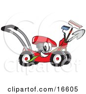 Clipart Picture Of A Red Lawn Mower Mascot Cartoon Character Passing By With A Hoe Rake And Shovel by Toons4Biz
