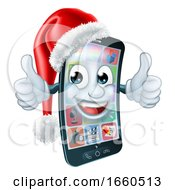 Christmas Cell Mobile Phone Cartoon In Santa Hat