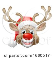 Christmas Reindeer Cartoon Deer Wearing Santa Hat by AtStockIllustration