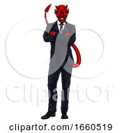 Evil Devil Businessman In Suit by AtStockIllustration