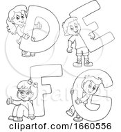 Poster, Art Print Of Black And White School Children With The Letters D E F And G