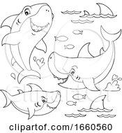 Cartoon Black And White Sharks And Fish