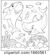 Black And White Cartoon Sharks Underwater