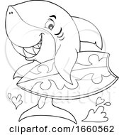 Cartoon Black And White Surfer Shark