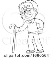Cartoon Black And White Senior Man With A Cane