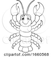 Cartoon Black And White Cheerful Lobster
