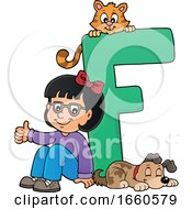Poster, Art Print Of School Girl With The Letter F
