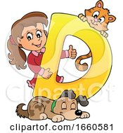 Poster, Art Print Of School Girl With The Letter D