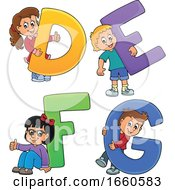 Poster, Art Print Of School Children With The Letters D E F And G