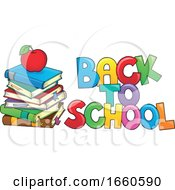 Poster, Art Print Of Back To School Design With Books And An Apple