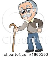 Cartoon Senior Man With A Cane