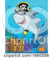 Cartoon Pirate Shark Over Sunken Treasure