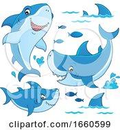 Cartoon Sharks And Fish