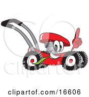 Clipart Picture Of A Red Lawn Mower Mascot Cartoon Character Passing By And Pointing Up by Toons4Biz