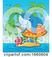 Poster, Art Print Of Cartoon Surfer Shark On A Tropical Island