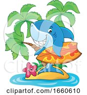 Cartoon Surfer Shark On An Island