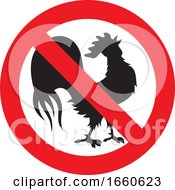 Poster, Art Print Of Silhouetted Rooster In A Prohibited Symbol