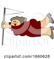 Cartoon Lady Holding Onto A Flag Pole In Extreme Wind
