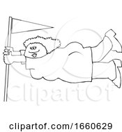 Cartoon Black And White Lady Holding Onto A Flag Pole In Extreme Wind