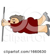 Cartoon Lady Holding Onto A Pole In Extreme Wind